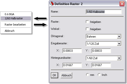 BAE Version 6.8: Layouteditor: Frei konfigurierbare Rasterfavoriten in der Toolbar
