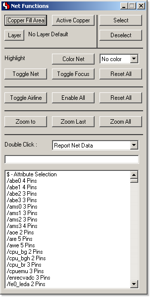 BAE Version 7.0: Layout Editor: Net Assistant - modeless dialog with net-specific functions)